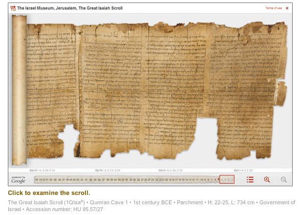 Isaiah Scroll on Google's Digital Dead Sea Scrolls