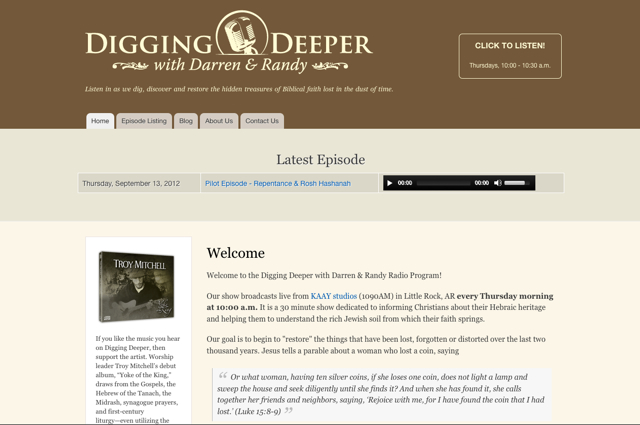 Digging Deeper website screenshot